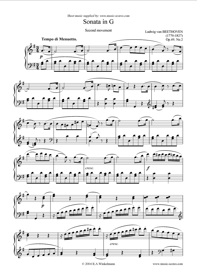 Front page of Op.49, No.2: Sonata 20: G, 2nd mvt: Menuetto sheet music