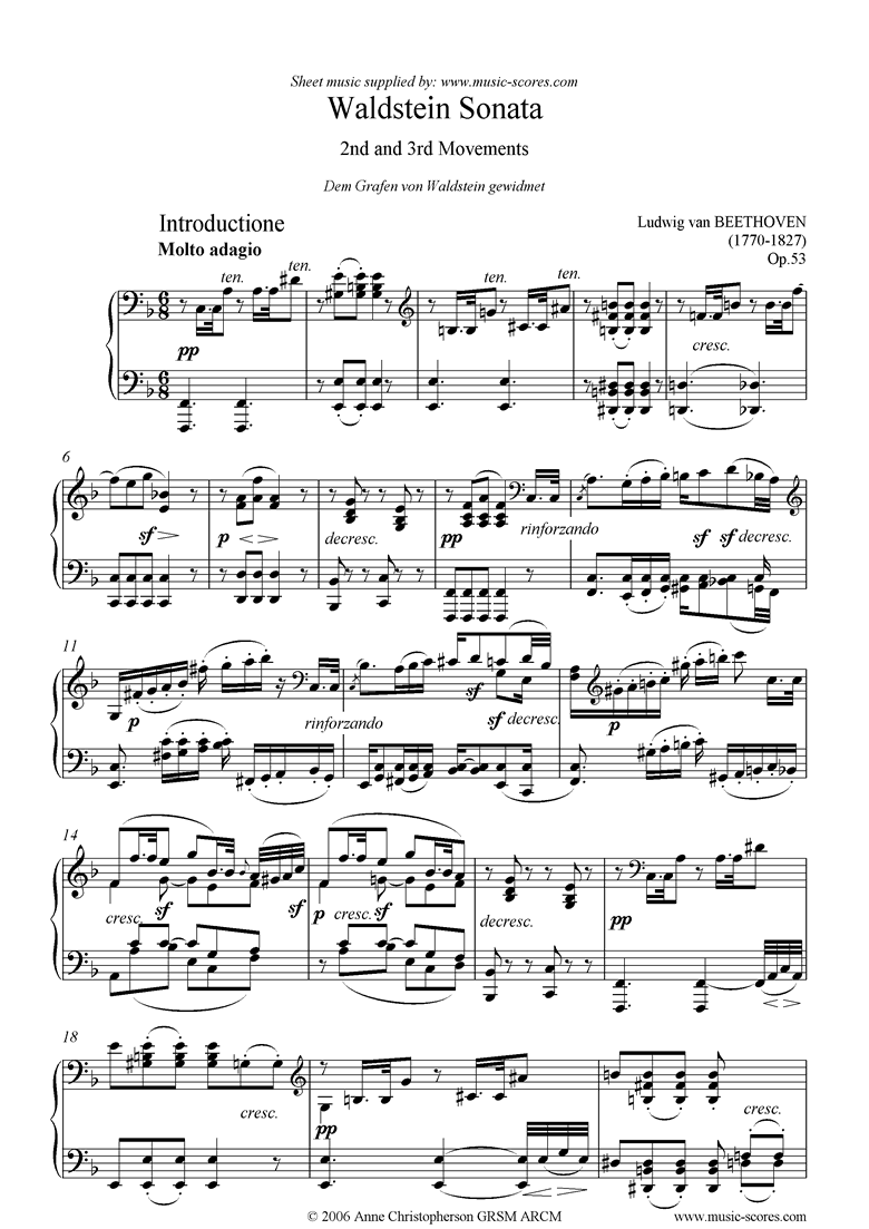 Front page of Op.53: Sonata 21: Waldstein: 2nd, 3rd: Adagio Rondo sheet music