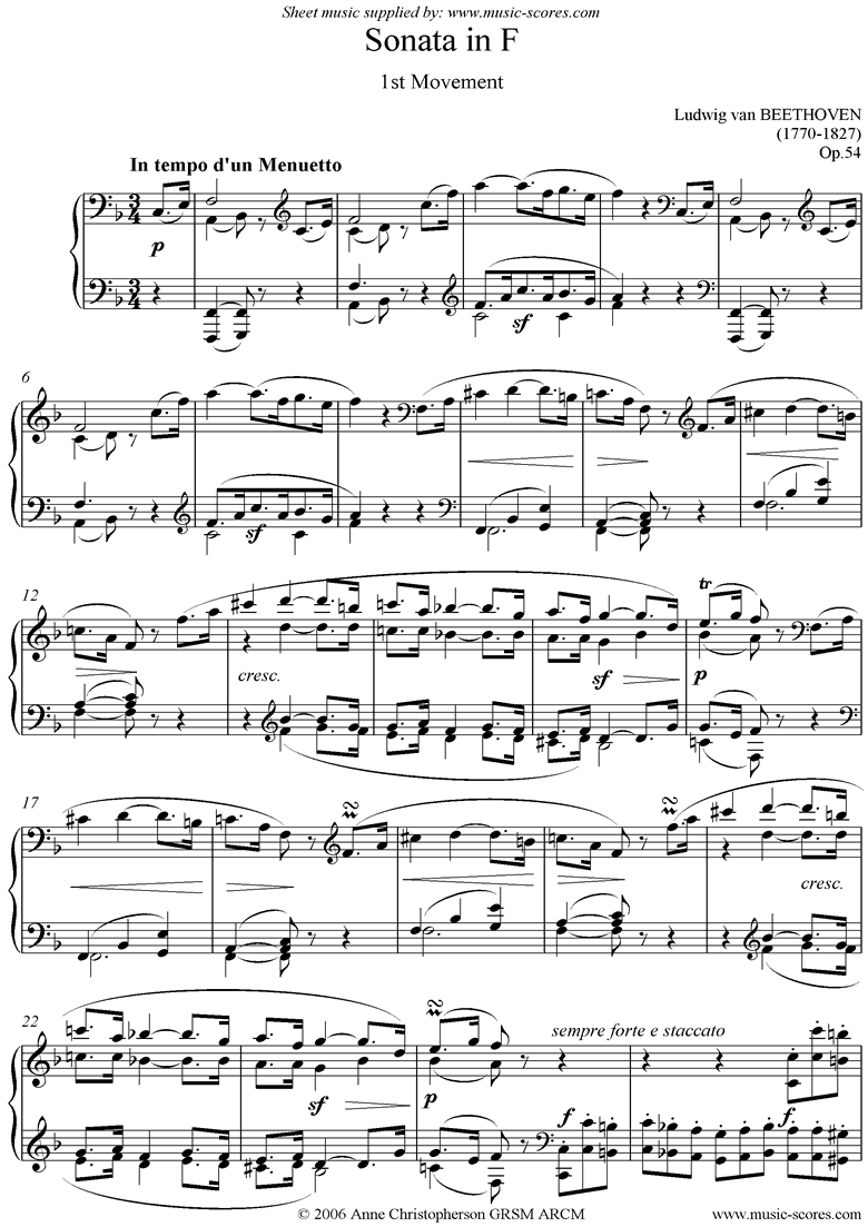 Front page of Op.54: Sonata 22: F: 1st mvt: Menuetto sheet music