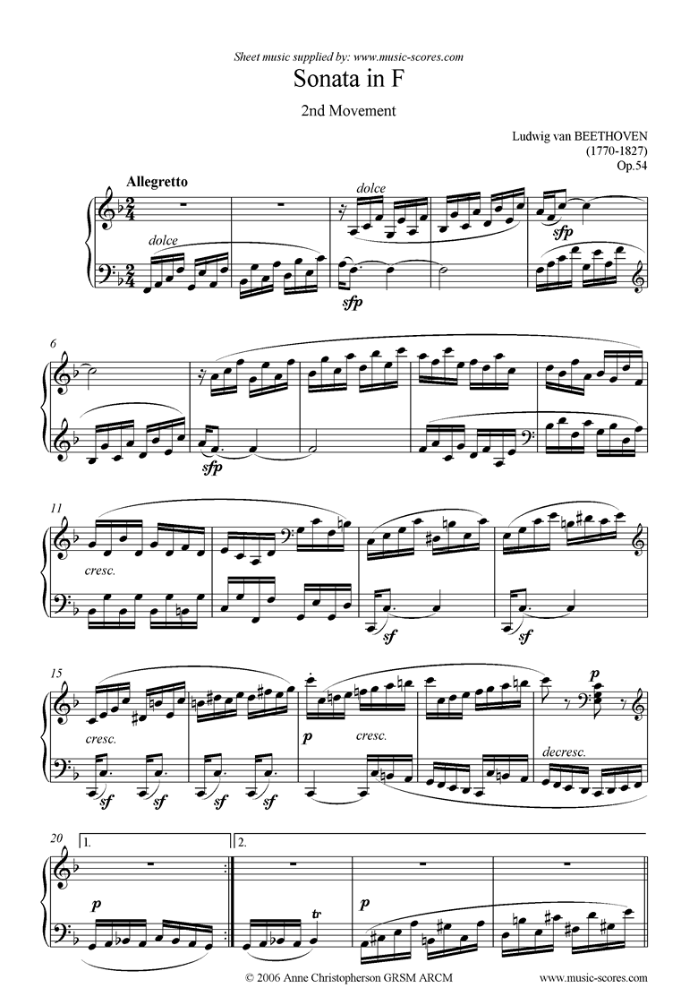 Front page of Op.54: Sonata 22: F: 2nd mvt: Allegretto sheet music