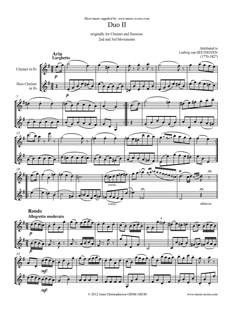 Front page of 3 Duos: No.2: 2nd and 3rd mvt. Clarinet, Bass Clarinet sheet music