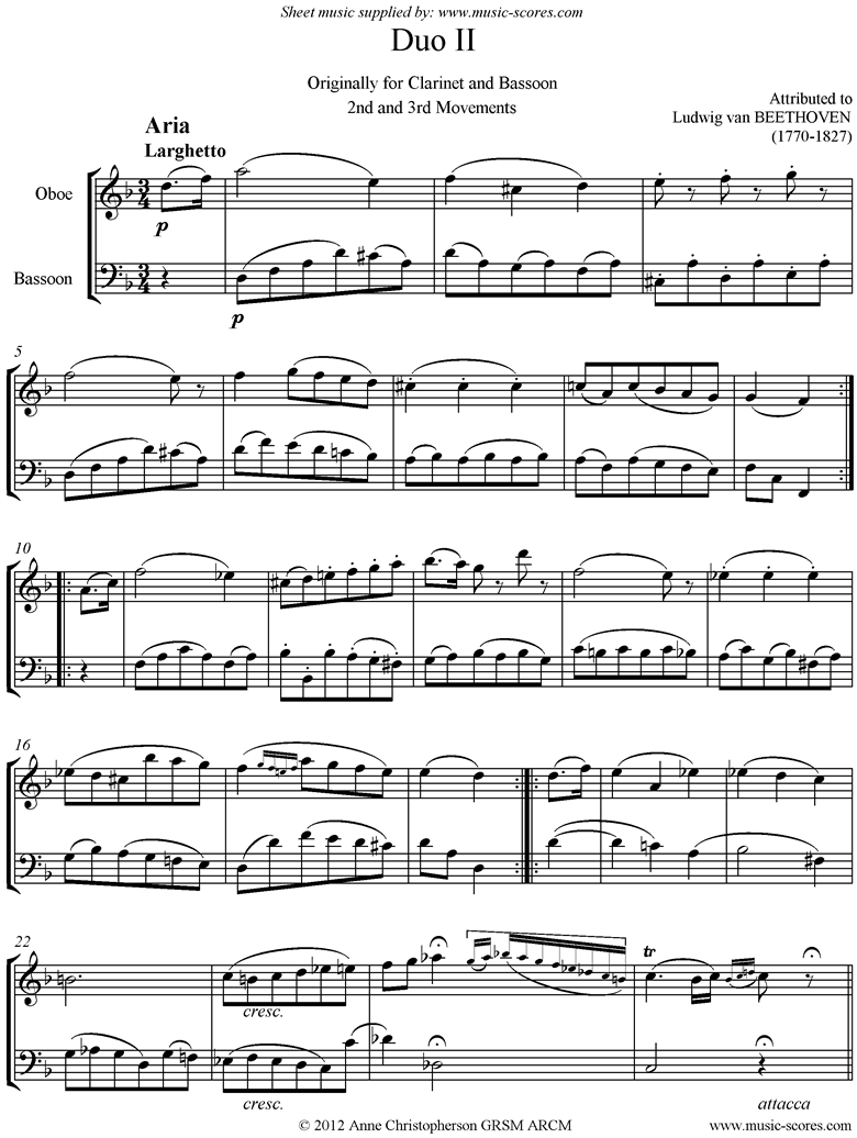 Front page of 3 Duos: No.2: 2nd and 3rd mvt. Oboe, Bassoon sheet music