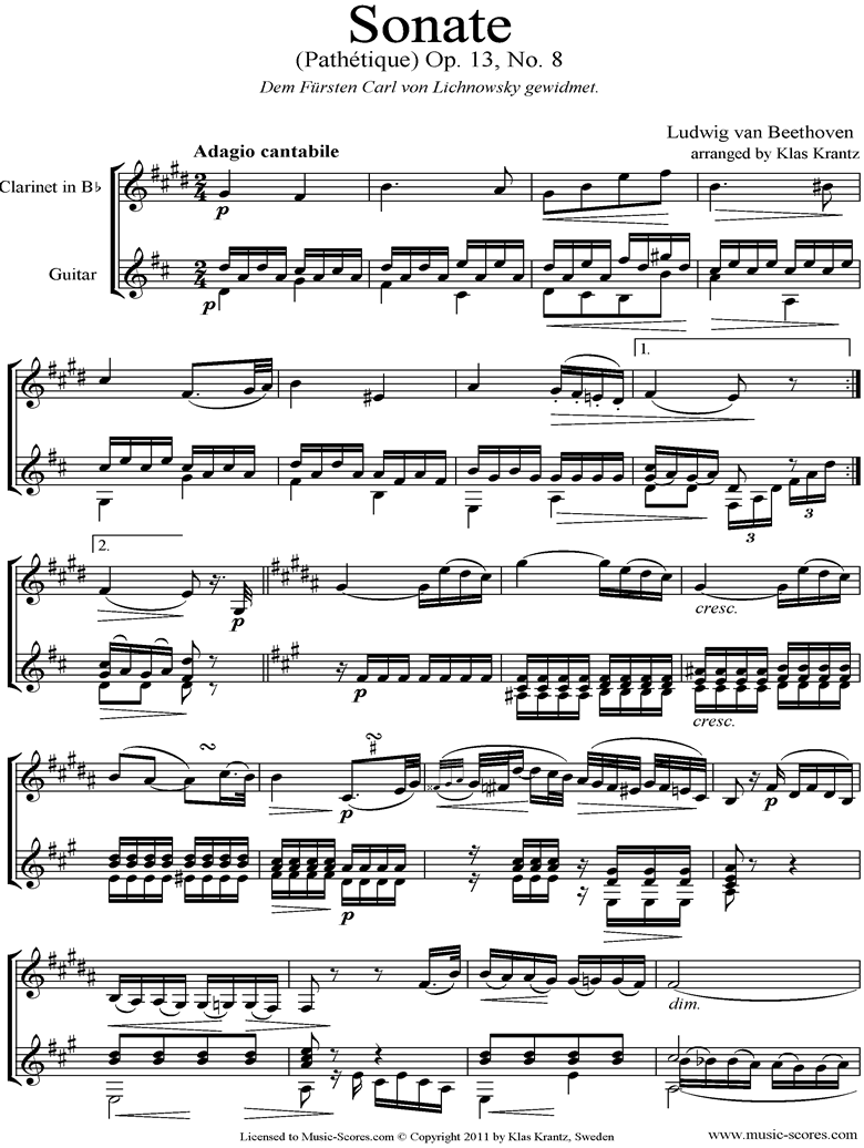 Front page of Op.13: Sonata 08: Pathetique, 2nd mvt: Clarinet, Guitar sheet music