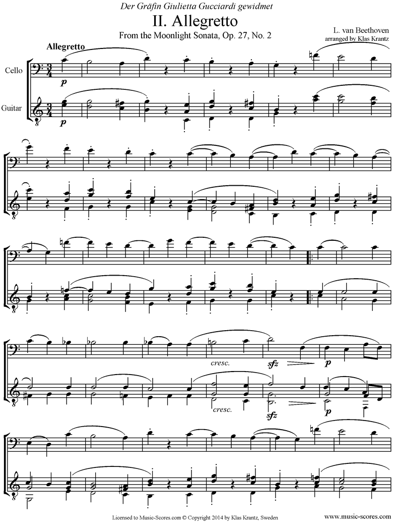 Op.27, No2: Sonata 14: Moonlight, 2nd mvt: Cello, Guitar. by Beethoven