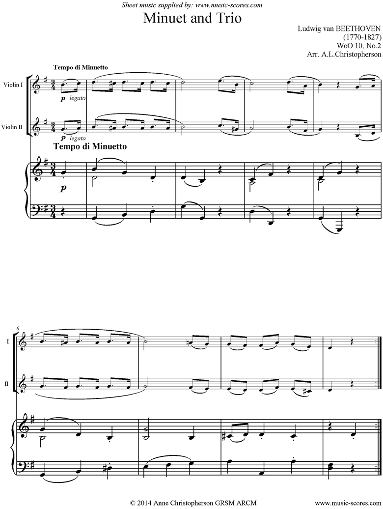 Front page of WoO 10, No.2: Minuet and Trio: 2 Violins and Piano sheet music