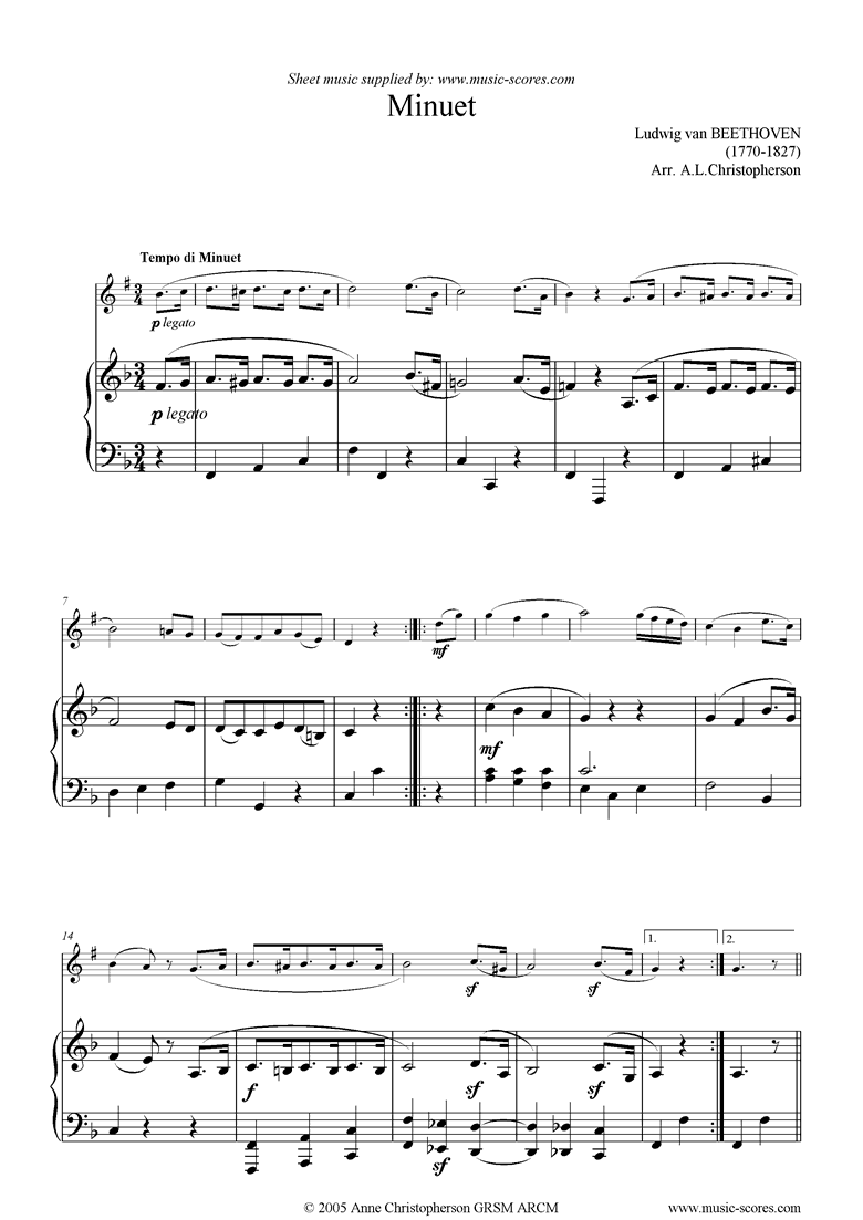Front page of WoO 10, No.2: Minuet in G: Clarinet sheet music