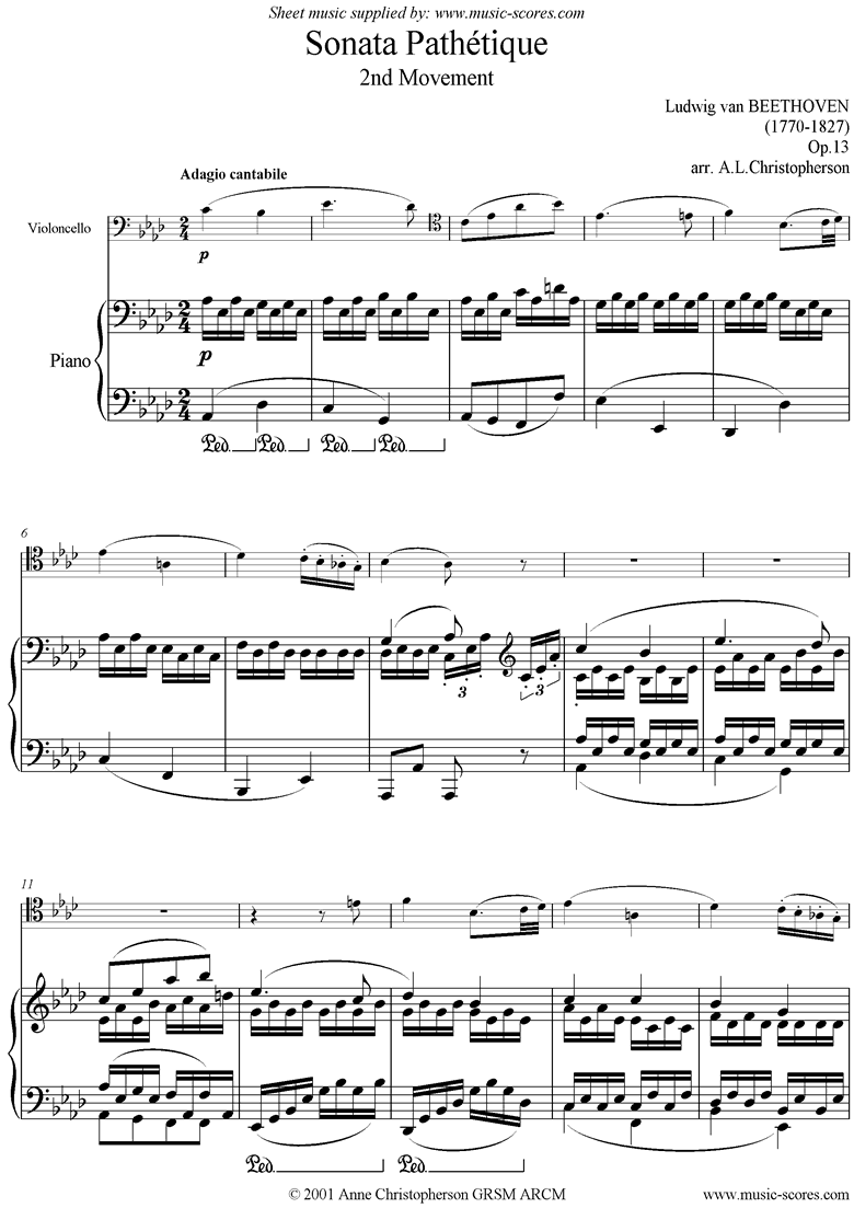Front page of Op.13: Sonata 08: Pathétique, 2nd mvt: Cello sheet music