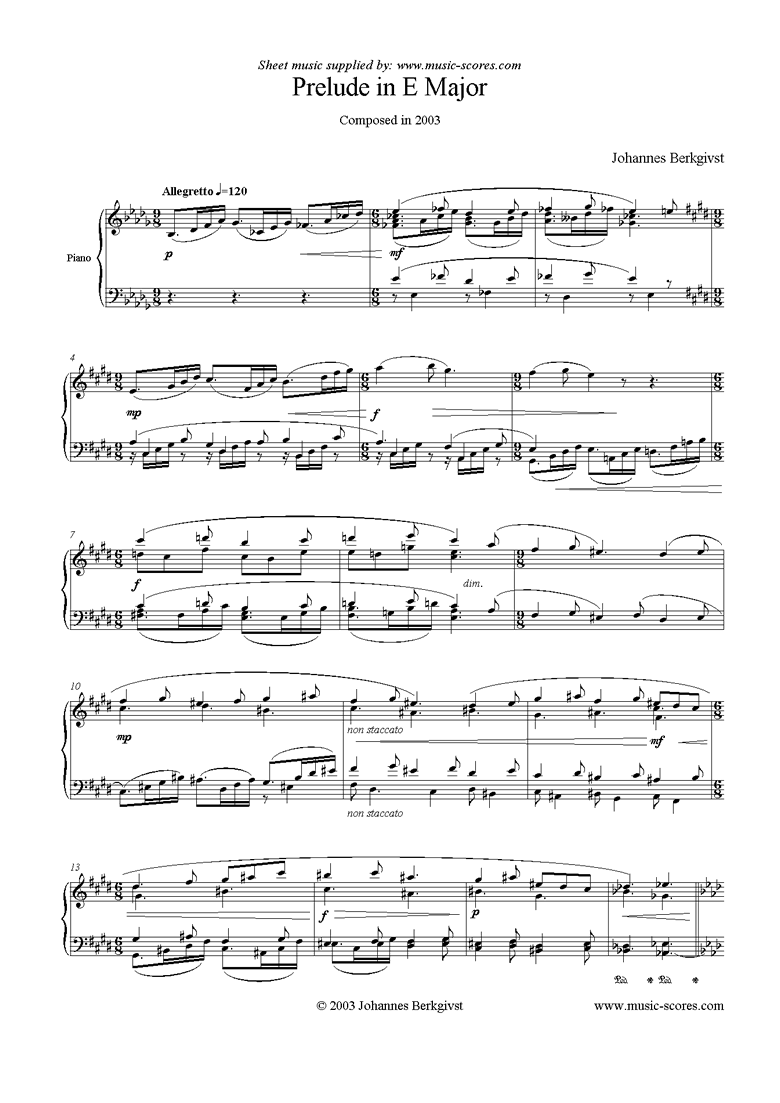 Front page of Prelude in E Major sheet music