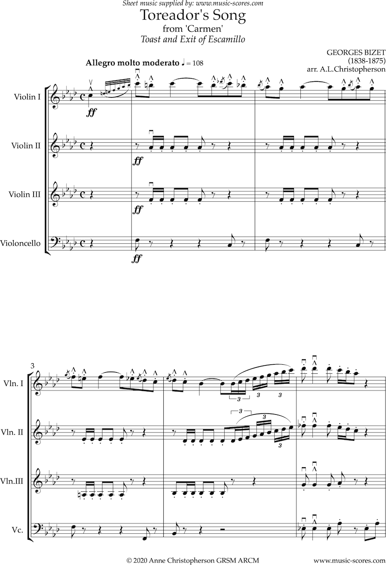 Front page of Toreadors Song: from Carmen: String ensemble: Long sheet music