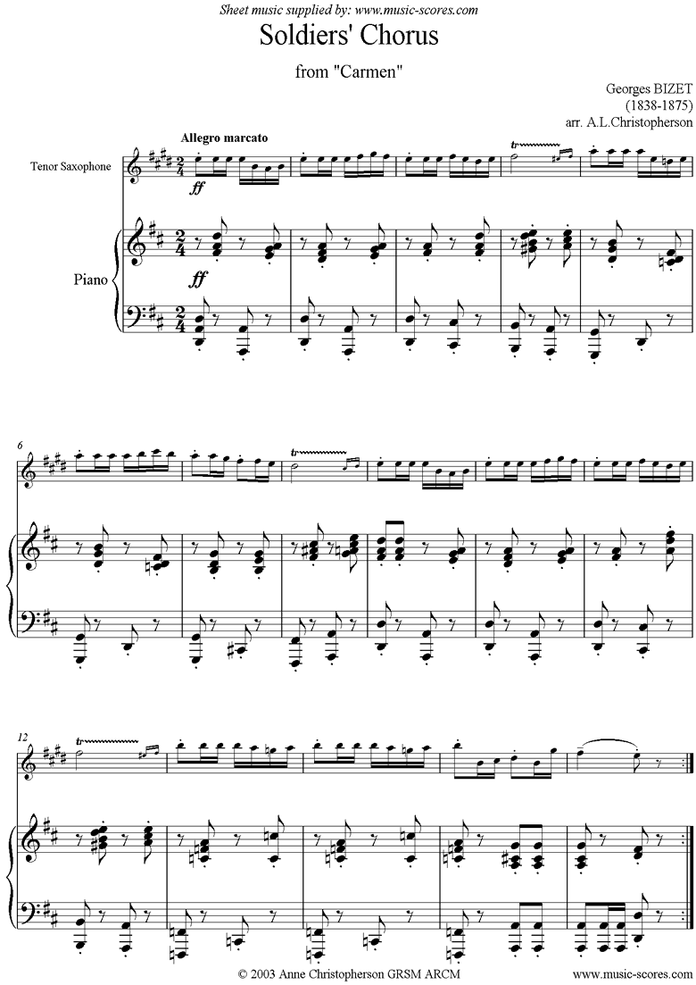 Front page of Soldiers Chorus: from Carmen: Tenor Sax sheet music