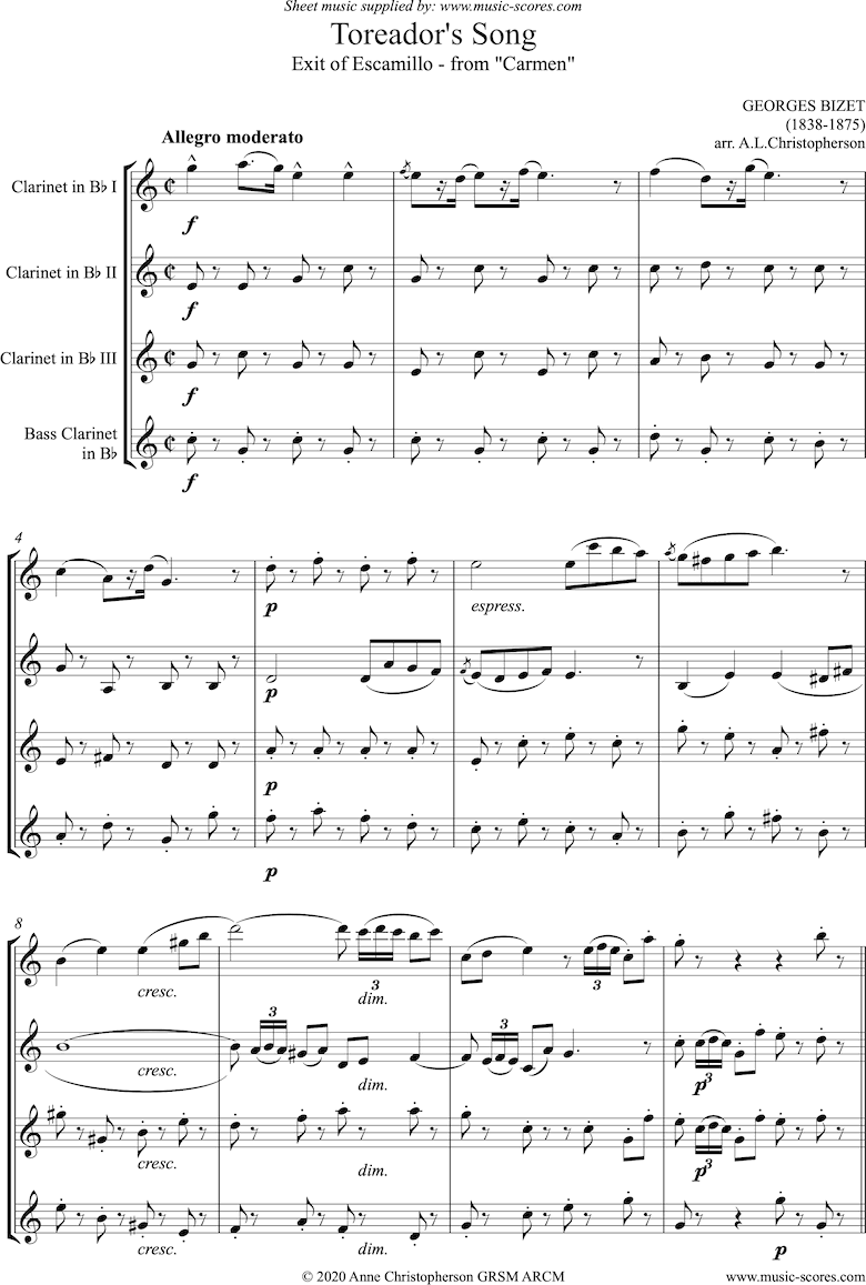 Front page of Toreadors Song: from Carmen: Short version: Clarinet quartet sheet music