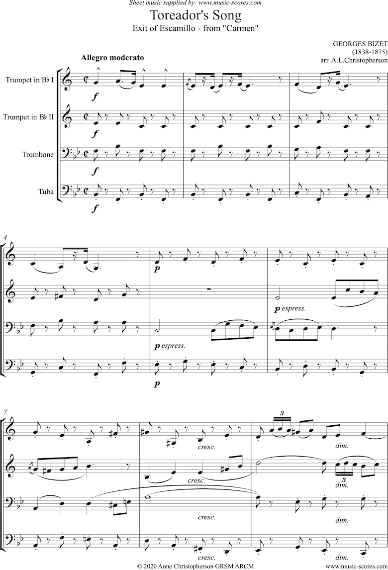 Front page of Toreadors Song: from Carmen: Short version: Brass quartet sheet music