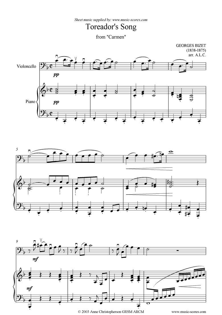Front page of Toreadors Song: from Carmen: Cello sheet music