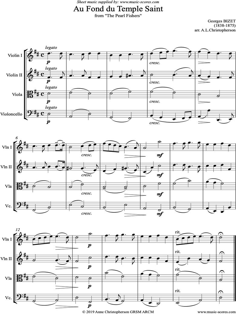 Front page of Pearl Fishers: Au Fond du Temple Saint: String 4 sheet music