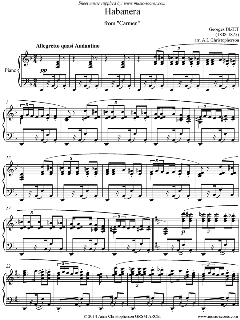 Front page of Habanera: from Carmen sheet music