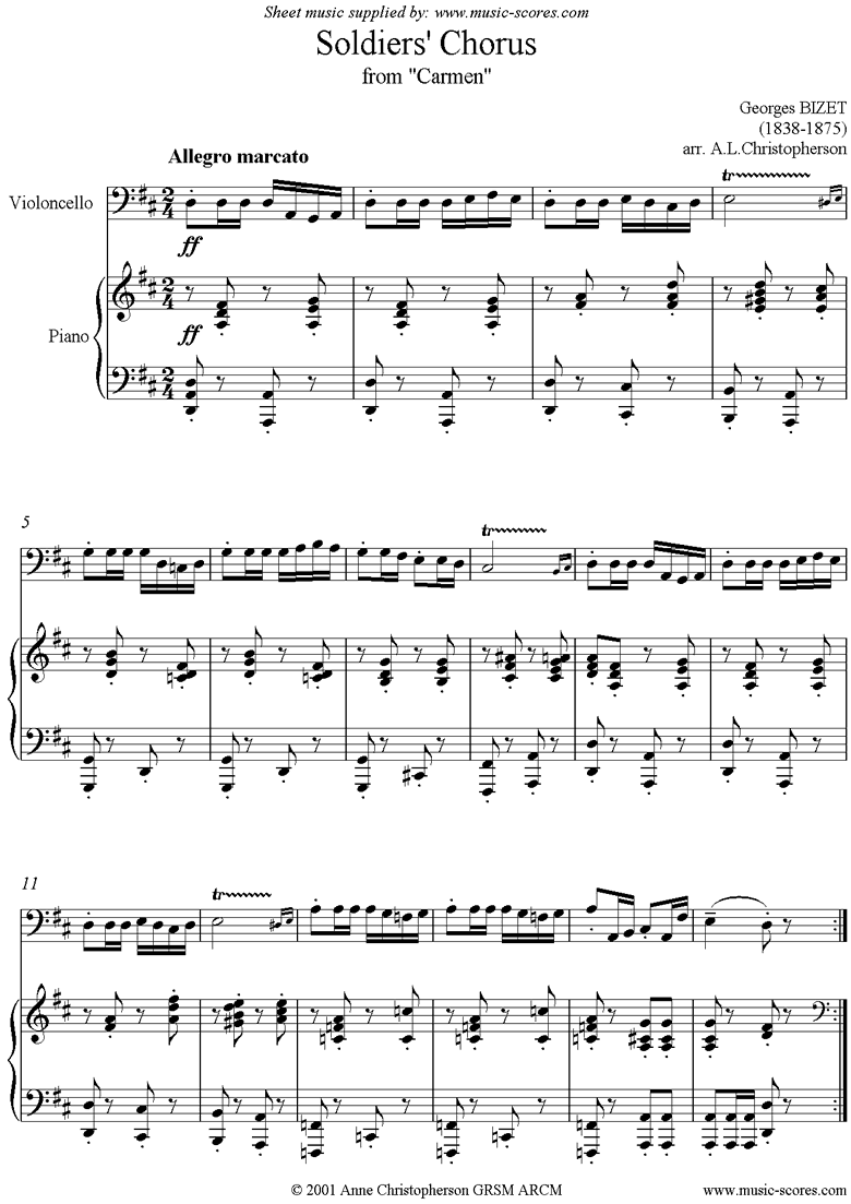 Front page of Soldiers Chorus: from Carmen: Cello sheet music