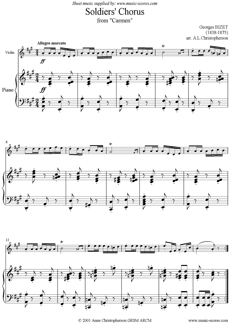 Front page of Soldiers Chorus: from Carmen: Violin sheet music