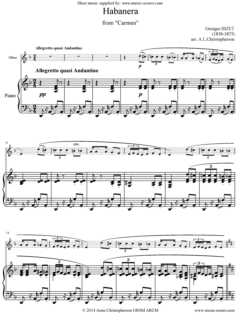 Front page of Habanera: from Carmen: Oboe sheet music