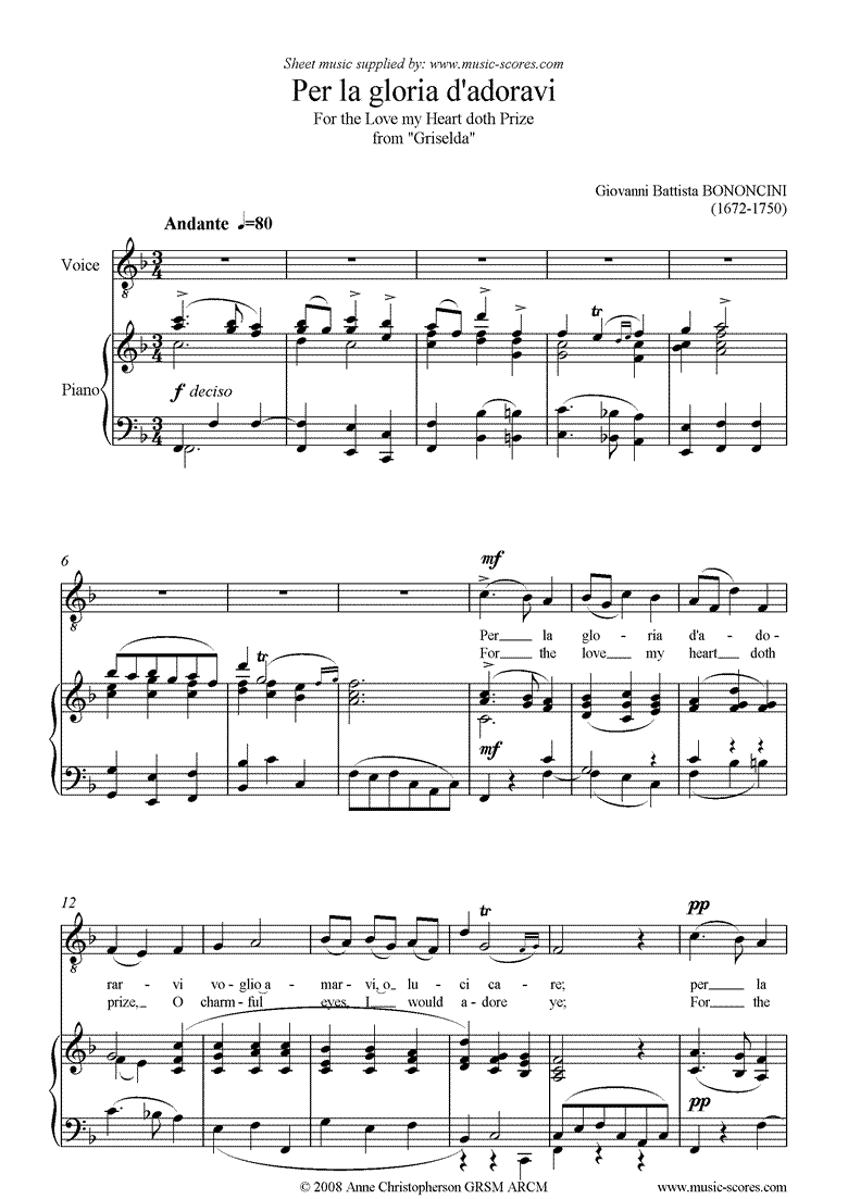 Front page of Per la Gloria d'Adoravi: from Griselda: higher sheet music