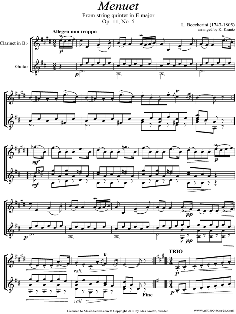 Minuet and Trio: from String Quintet in E: Clarinet, Guitar by Boccherini