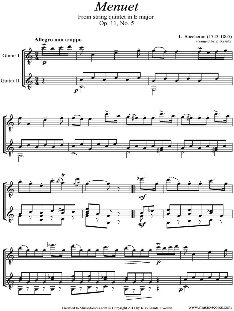 Front page of Minuet and Trio: from String Quintet in E: 2 Guitars sheet music