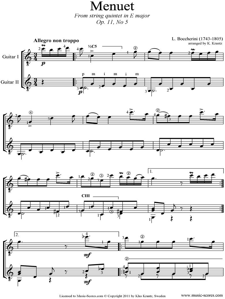 Front page of Minuet and Trio: from String Quintet in E: 2 Guitars easier sheet music