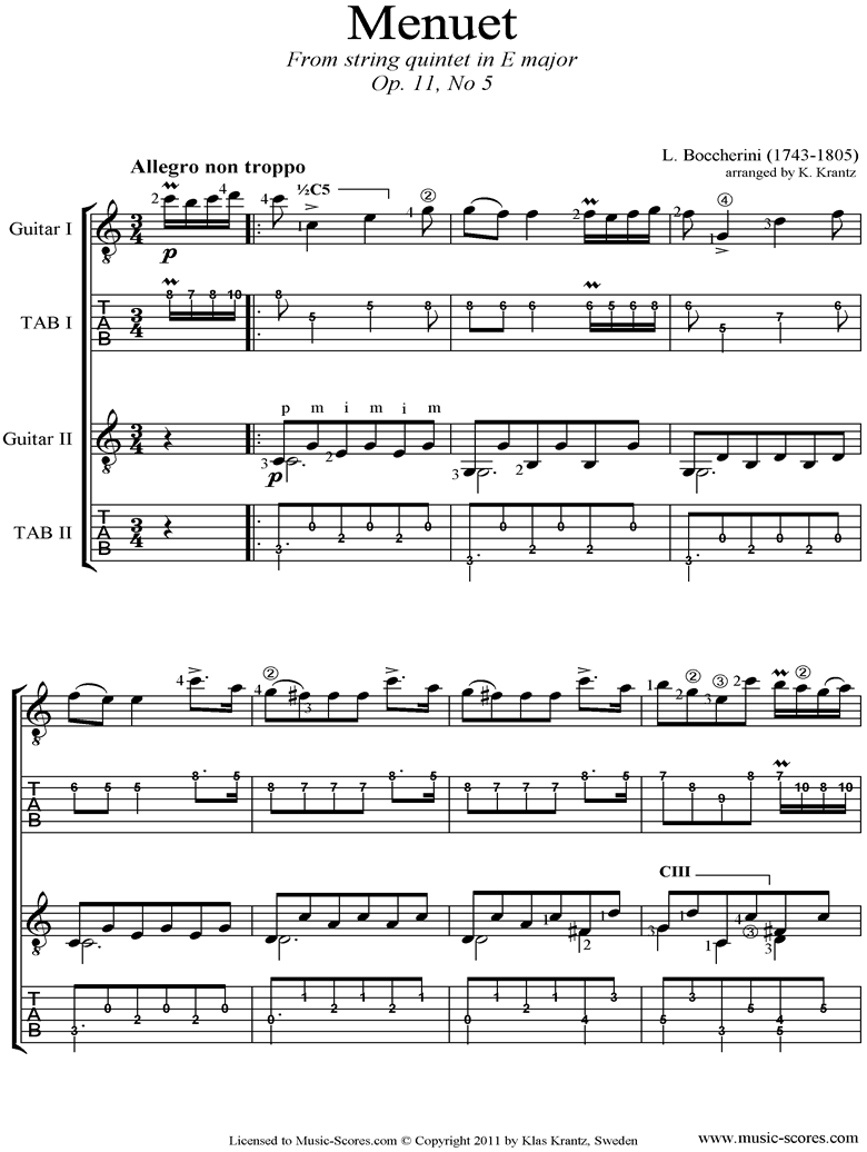 Minuet and Trio: from String Quintet in E: 2 Guitars, tabs by Boccherini