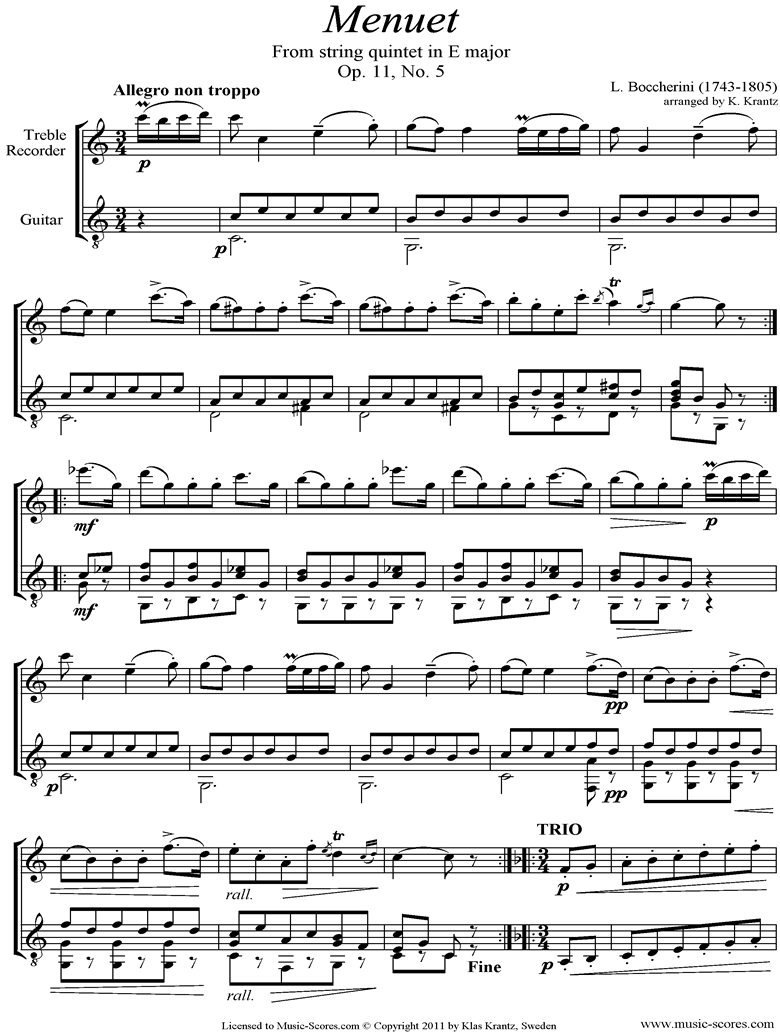 Front page of Minuet and Trio: from String Quintet in E: Treble Recorder, Guitar sheet music