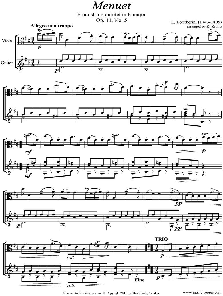 Front page of Minuet and Trio: from String Quintet in E: Viola, Guitar sheet music