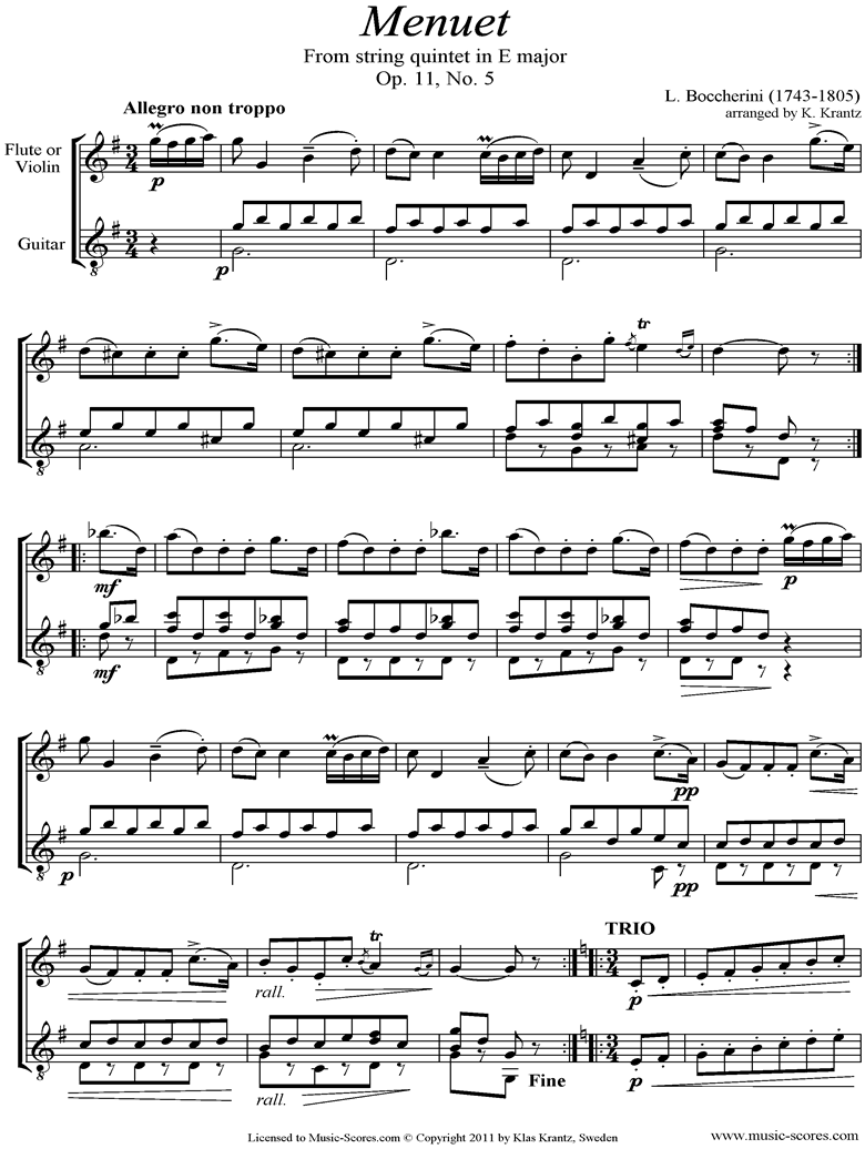 Front page of Minuet and Trio: from String Quintet in E: Violin, Guitar sheet music