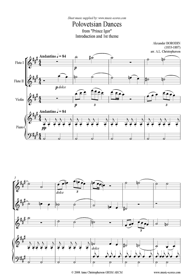 Front page of Prince Igor: Polovetsian Dance theme: 2fl, Vn, Pno sheet music