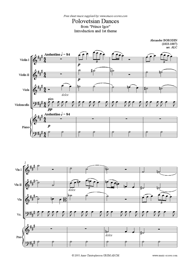 Front page of Prince Igor: Polovetsian Dance theme: Strings, Pno sheet music
