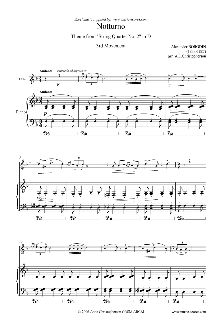 Front page of Notturno: from String Quartet no. 2, 3rd Movement sheet music
