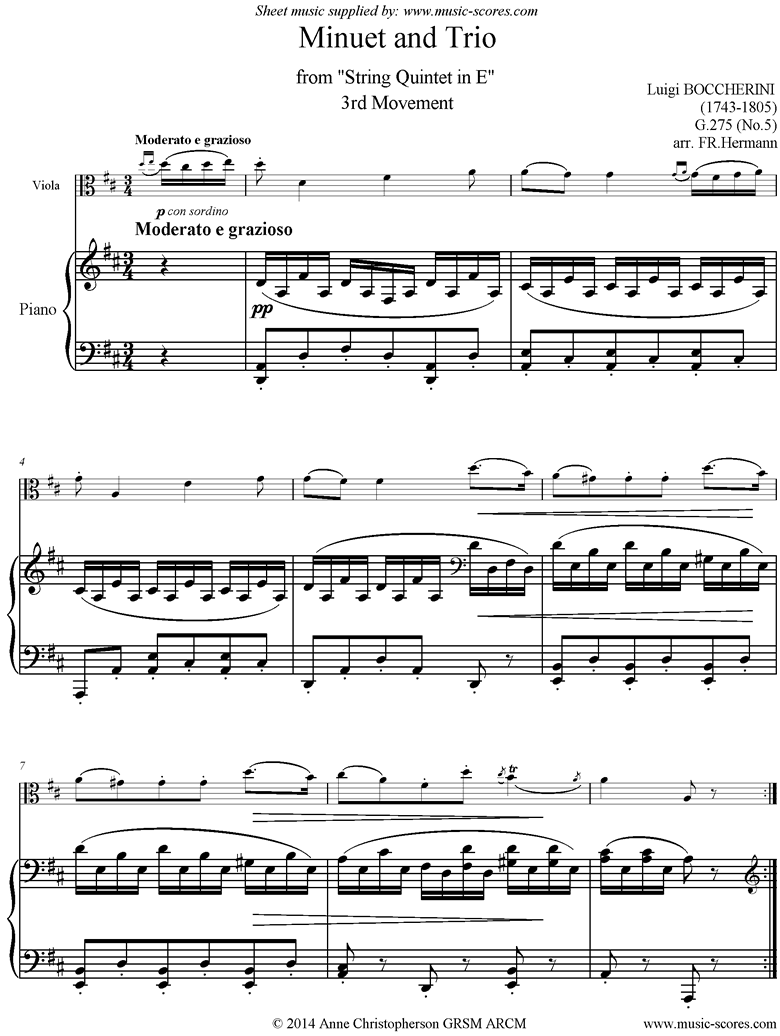 Front page of Minuet and Trio: from String Quintet in E: Viola, Piano. Lower sheet music