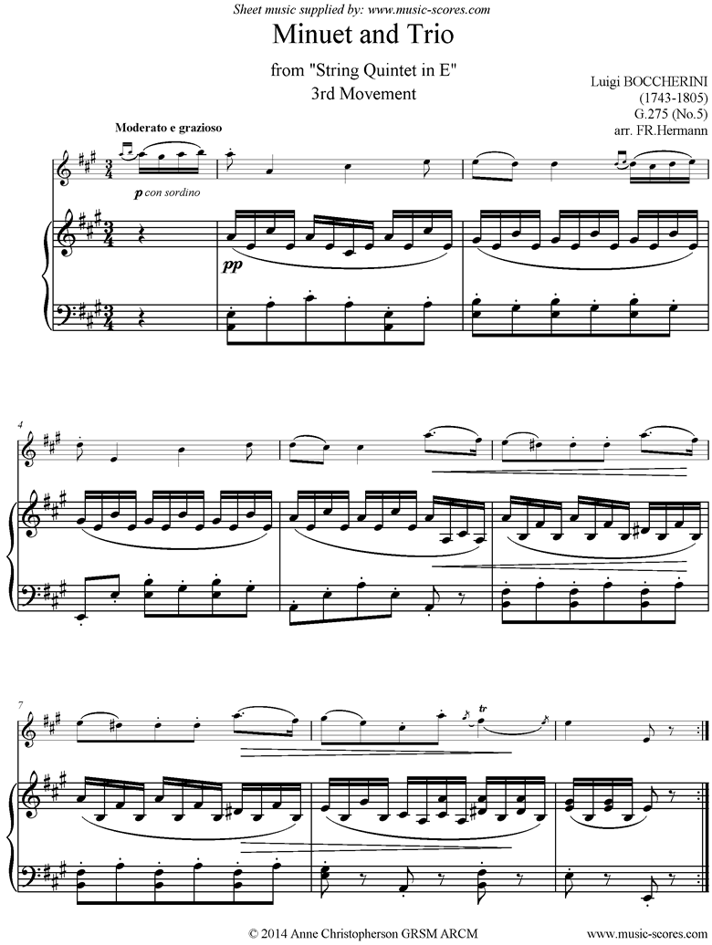 Front page of Minuet and Trio: from String Quintet in E: Violin, Piano sheet music