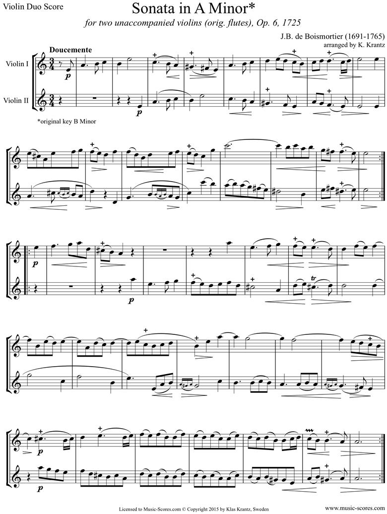 Op.6 Sonata: Violin duo by Boismortier