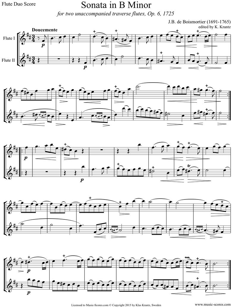 Op.6 Sonata: Flute duo by Boismortier