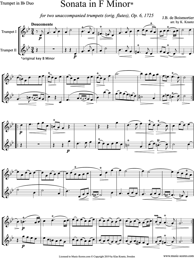 Op.6 Sonata: Trumpet duo by Boismortier