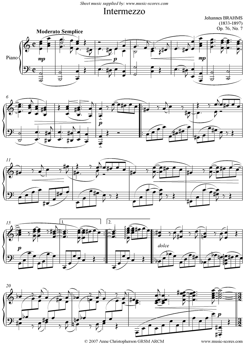 Front page of Op.76, No.7: Intermezzo in A minor  sheet music