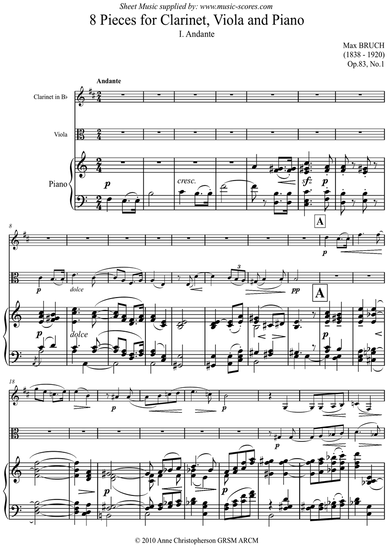 Op.83 No.1 Andante for Clarinet in Bb Viola, Piano by Bruch
