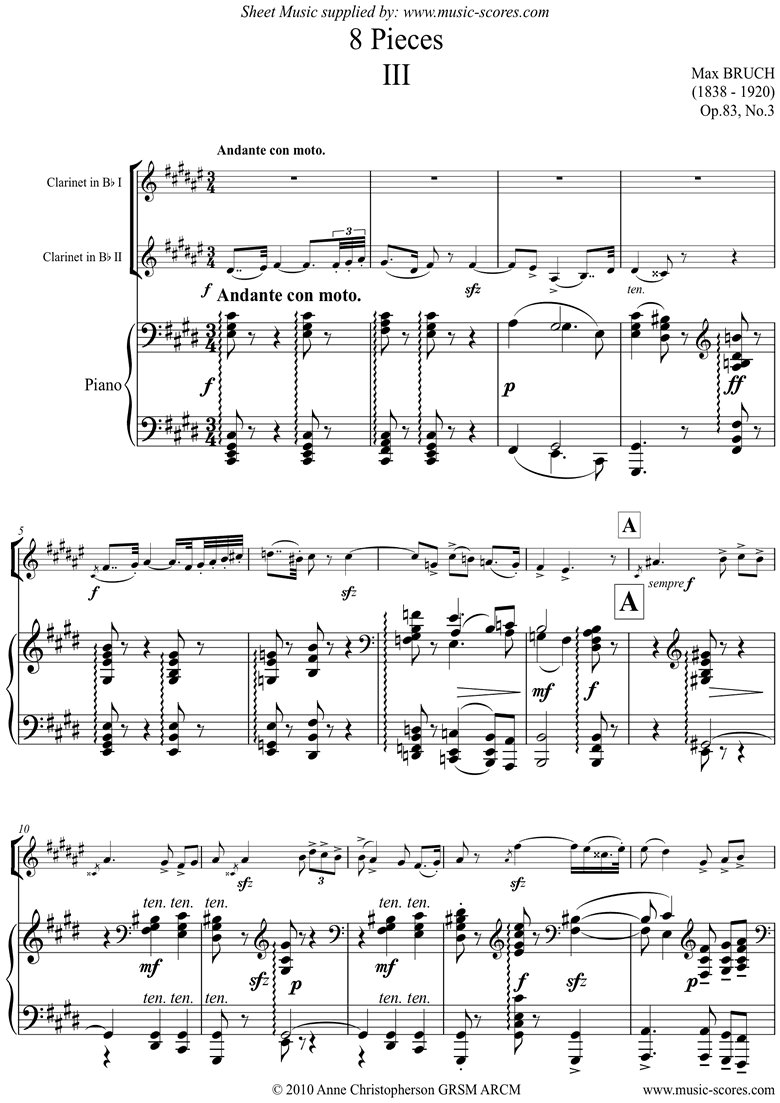 Front page of Op.83 No.3 Andante for 2 Clarinets and Piano sheet music
