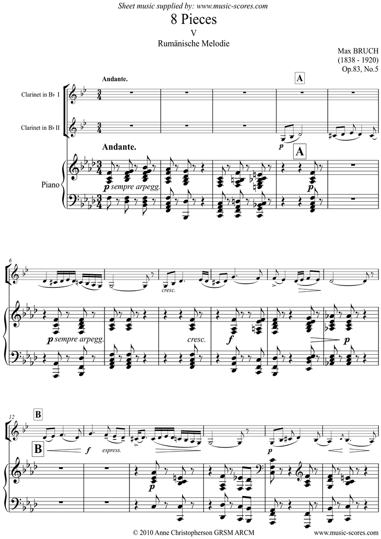 Front page of Op.83 No.5 Rumanische: 2 Clarinets and Piano sheet music