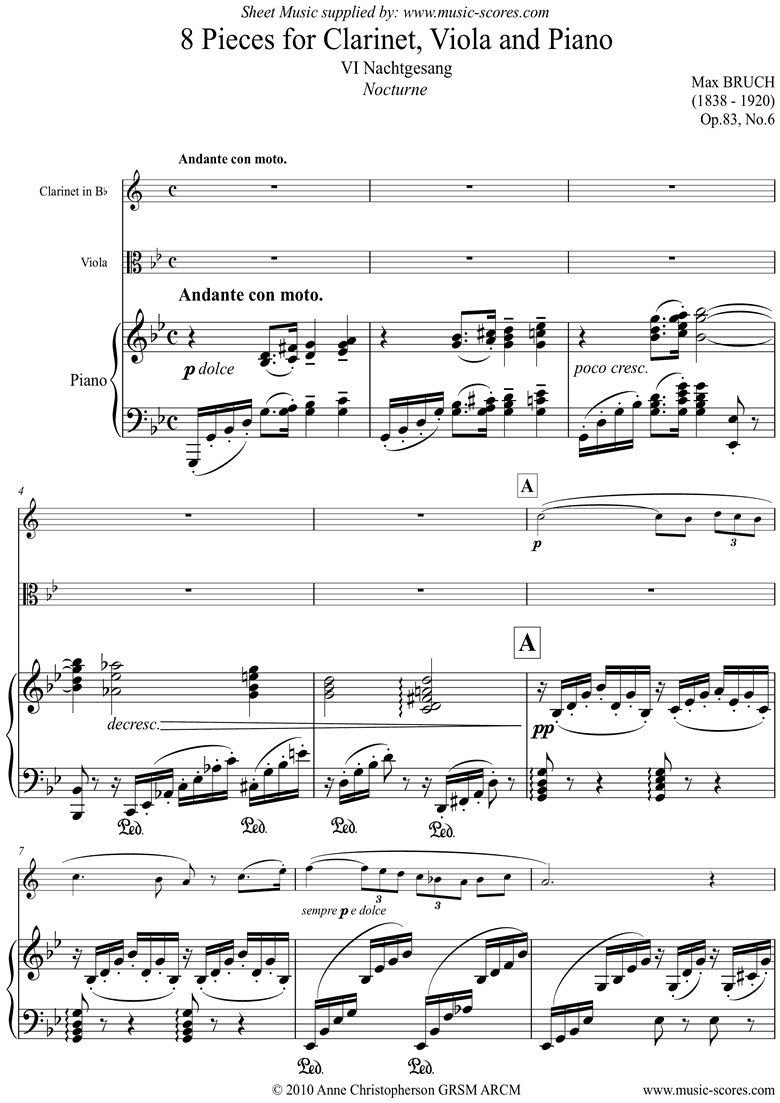 Front page of Op.83 No.6 Nocturne: Bb Clarinet Viola and Piano sheet music