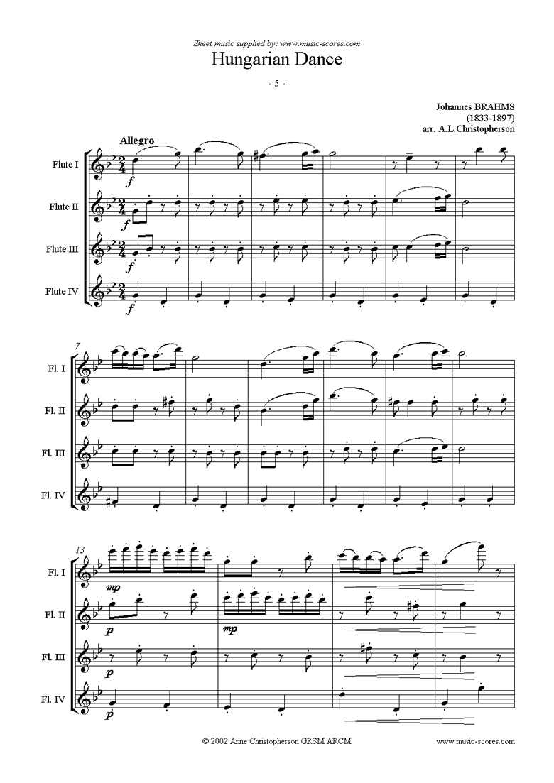 Front page of Hungarian Dance No.5: Flute Quartet sheet music