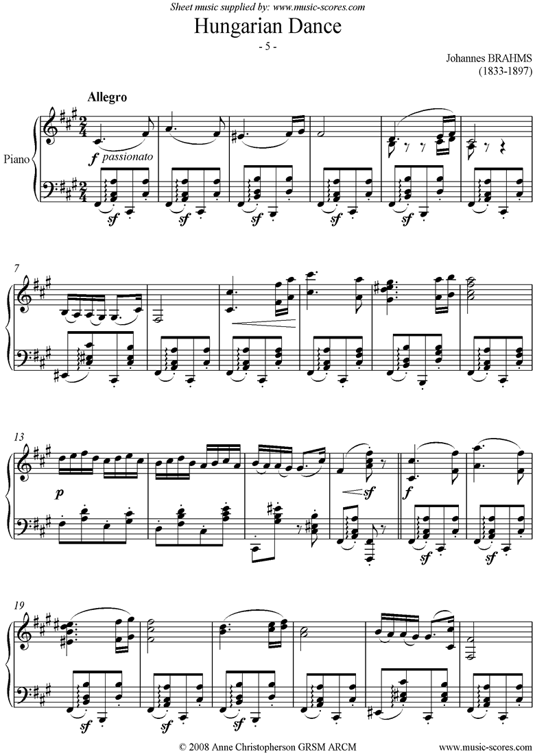 Front page of Hungarian Dance No.5: Piano Solo sheet music