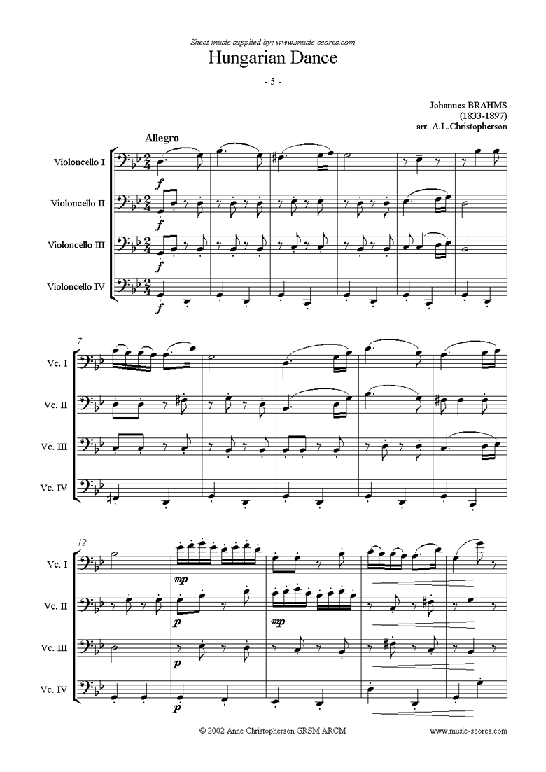 Front page of Hungarian Dance No.5: Cello Quartet sheet music