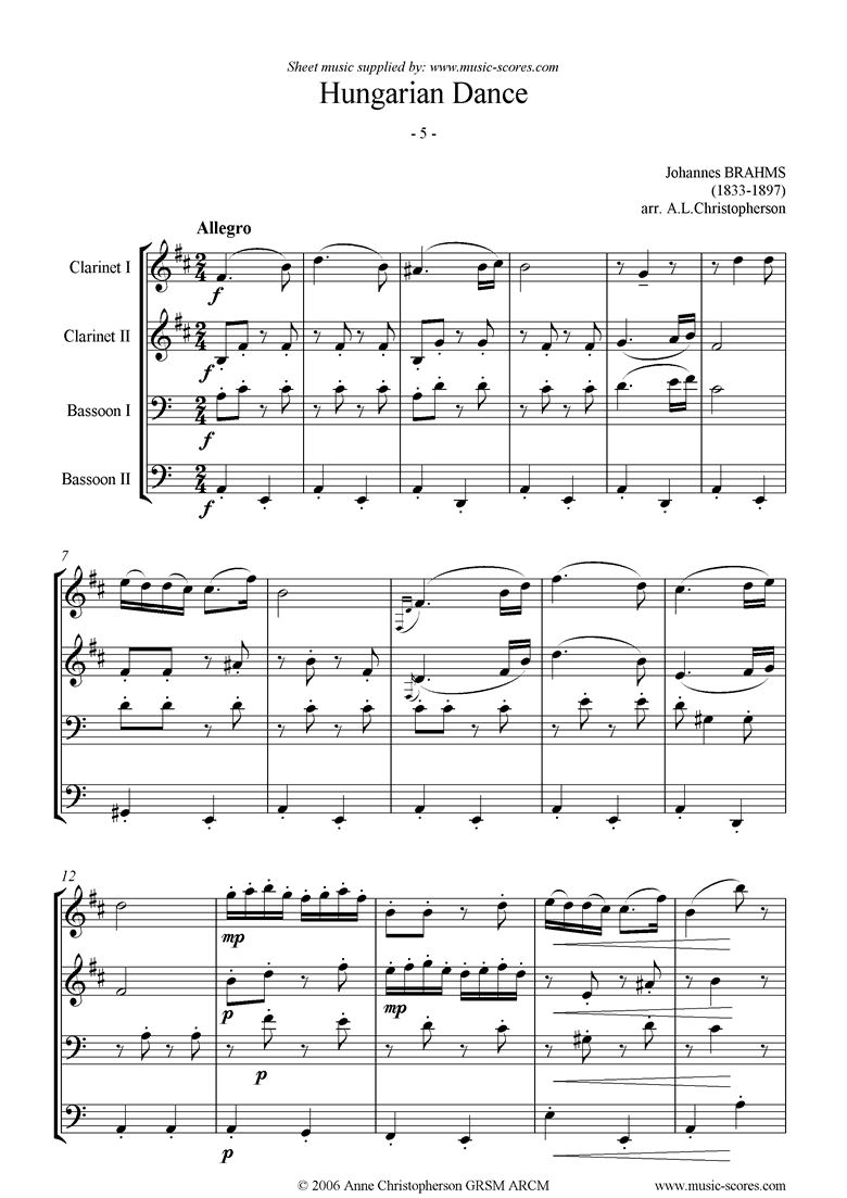 Front page of Hungarian Dance No.5: 2 Clarinets, 2 Bassoons sheet music