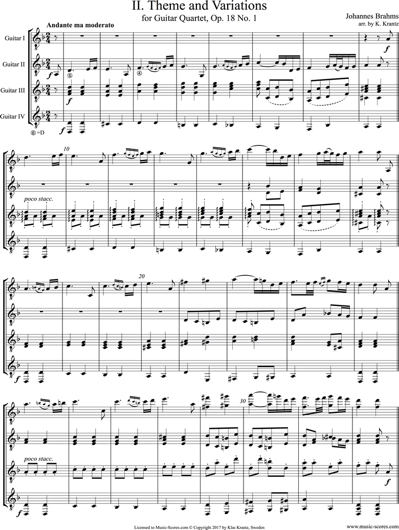Front page of Op.18, No.1: 4 Guitars sheet music