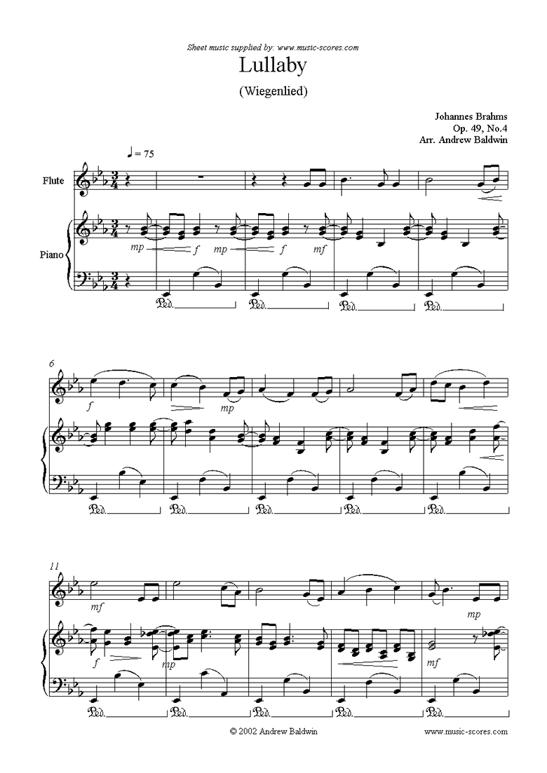 Front page of Op.49, No.4: Brahms Lullaby: Flute sheet music