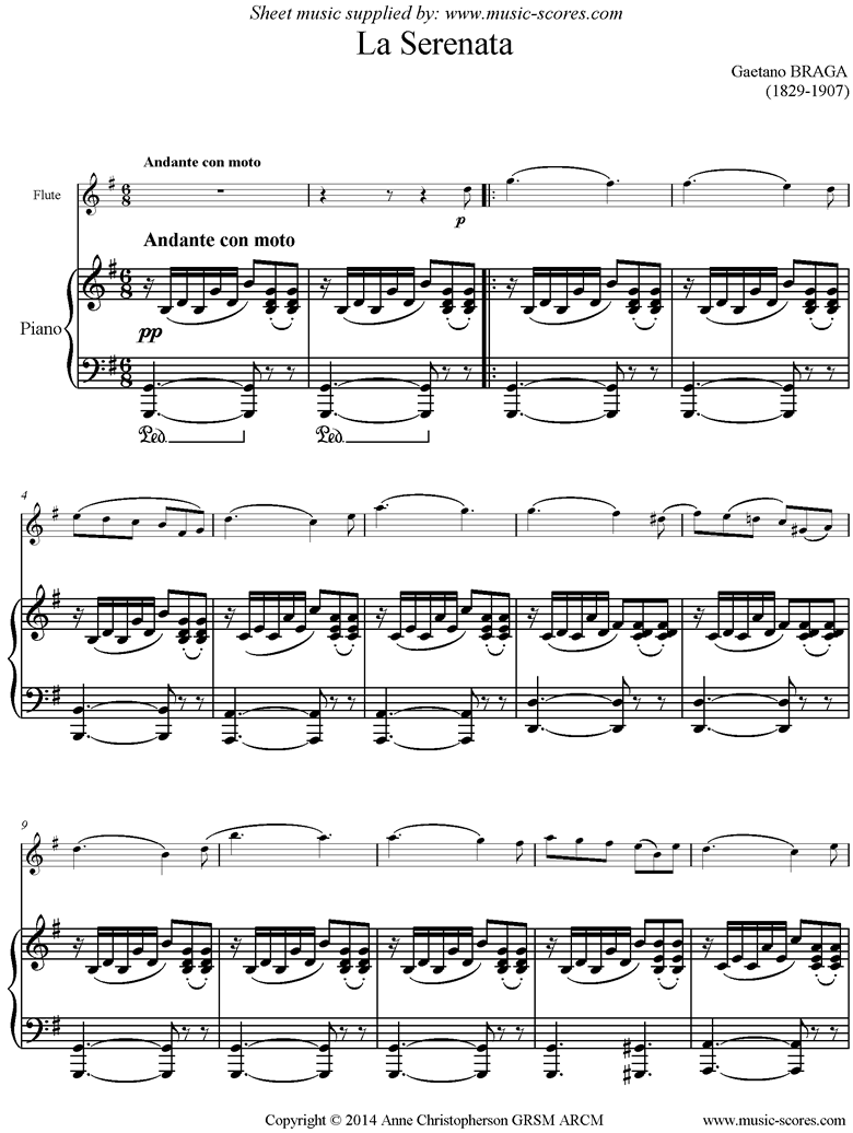 Front page of La Serenata: Flute sheet music